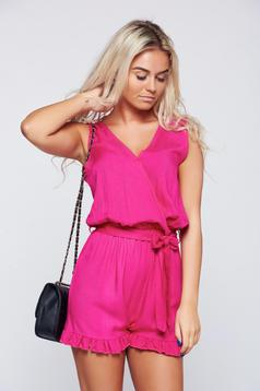 Fuchsia airy fabric jumpsuit with ruffle details