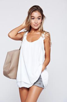 White casual easy cut top shirt with straps