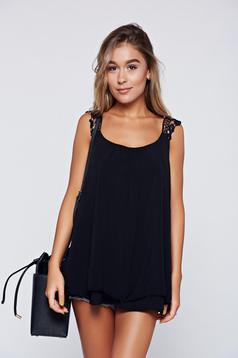 Black casual easy cut top shirt with straps