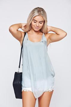 Grey voile fabric easy cut top shirt
