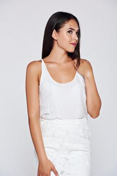 White voile fabric easy cut top shirt