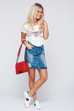Top Secret blue casual denim skirt with ruptures