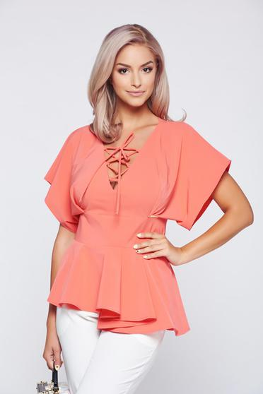 PrettyGirl coral elegant women`s blouse with a cleavage and frilled waist