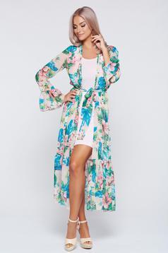 PrettyGirl green flared kimono dress voile fabric