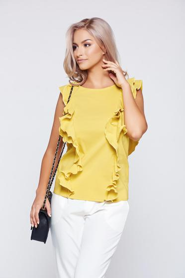PrettyGirl yellow elegant flared top shirt with ruffle details