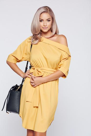 PrettyGirl yellow casual flared dress accessorized with tied waistband