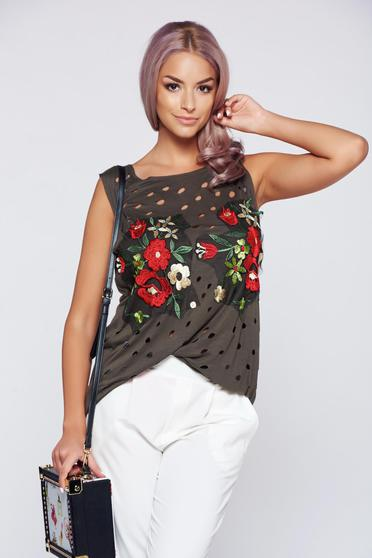 Ocassion darkgreen easy cut top with embroidery details