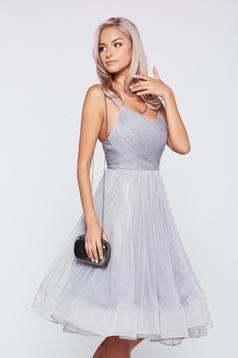 Ana Radu occasional grey cloche net dress