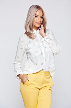 Top Secret white airy fabric women`s shirt with pointed collar