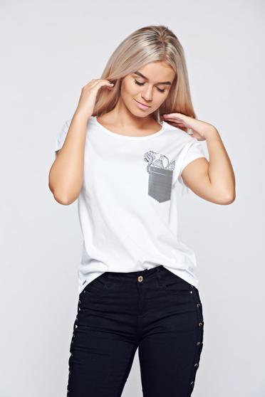 Top Secret white elastic cotton t-shirt with graphic print