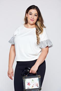 Top Secret white casual flared women`s blouse with butterfly sleeves