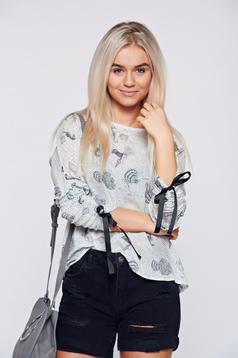 Top Secret white easy cut cotton casual women`s blouse
