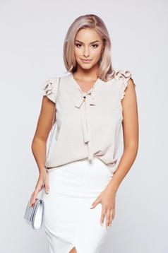Fofy cream airy fabric women`s blouse with butterfly sleeves