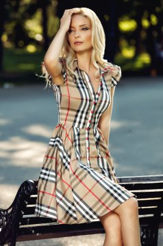 Fofy brown cloche dress with short sleeve from plaid fabric