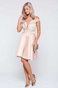 Fofy occasional rosa off shoulder with satin fabric texture dress