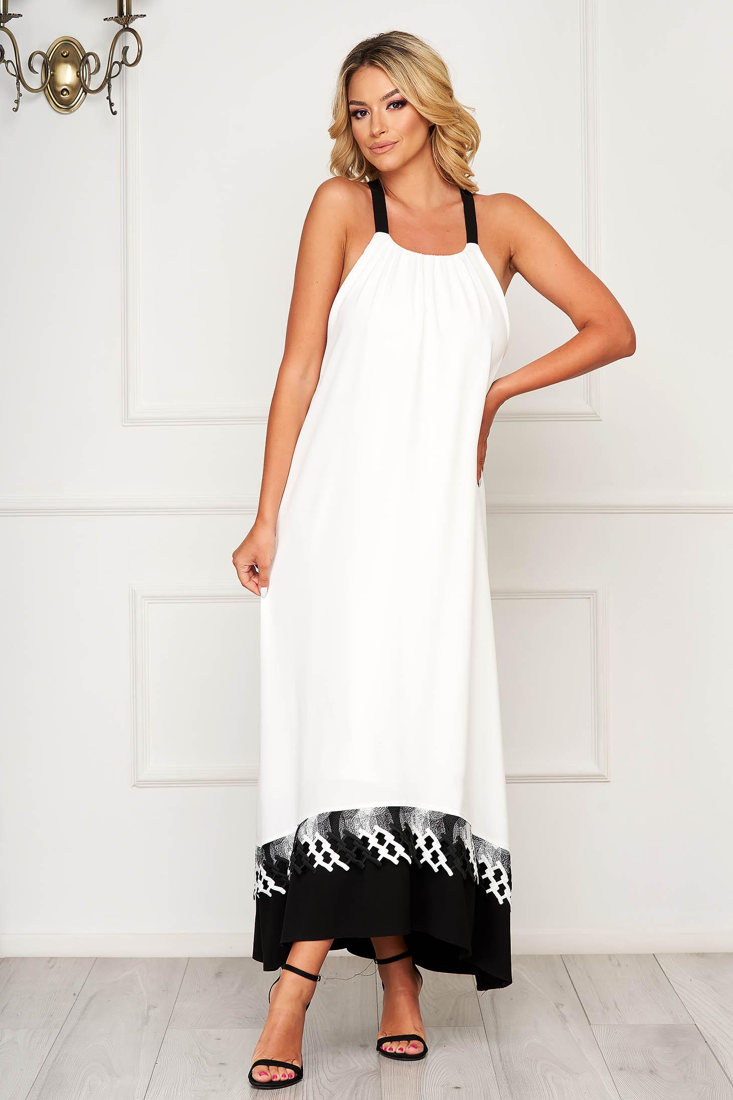 Fehér StarShinerS pántos hátul kivágott bő szabású ruha