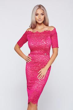 StarShinerS elegant fuchsia pencil dress off shoulder