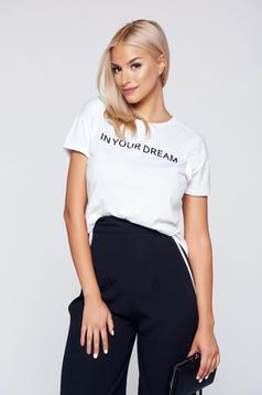 Top Secret white cotton casual t-shirt