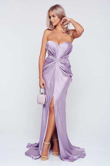 Ana Radu asymmetrical lila dress with push-up bra from wrinkled fabric