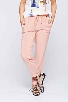 PrettyGirl rosa casual trousers with pockets airy fabric