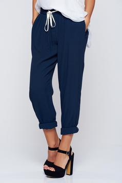PrettyGirl darkblue casual trousers with pockets airy fabric