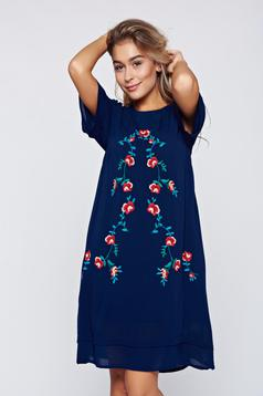 Top Secret darkblue casual easy cut embroidered dress