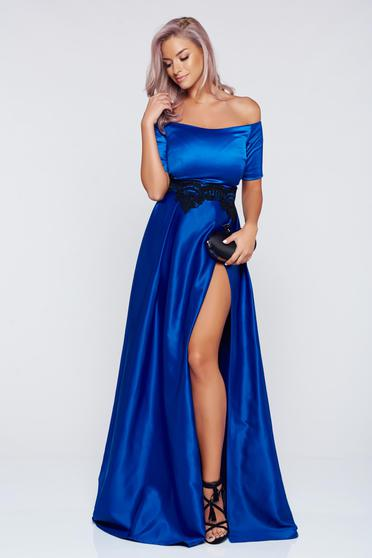 Artista occasional blue dress with satin fabric texture and embroidery details