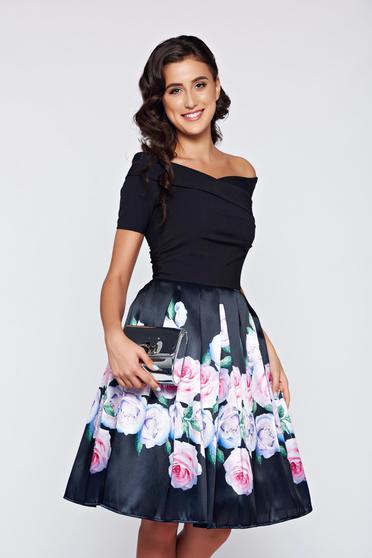 Artista cloche black elegant off shoulder dress