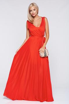 PrettyGirl casual flared coral wrap around dress