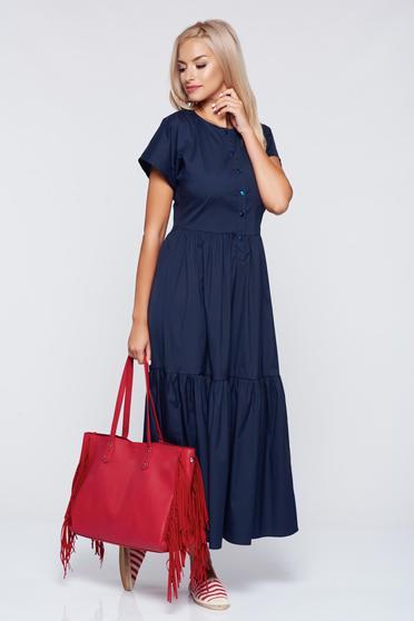 PrettyGirl casual cloche darkblue dress with elastic waist