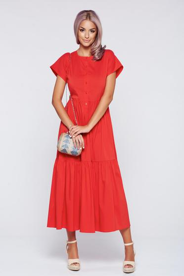 PrettyGirl casual cloche coral dress elastic waist