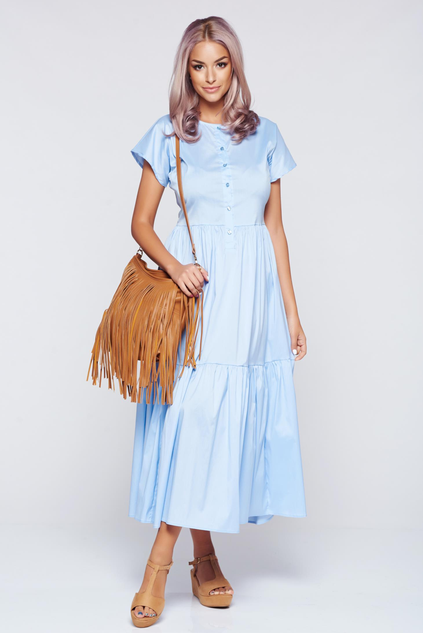 Rochie PrettyGirl albastra-deschis casual in clos cu elastic in talie
