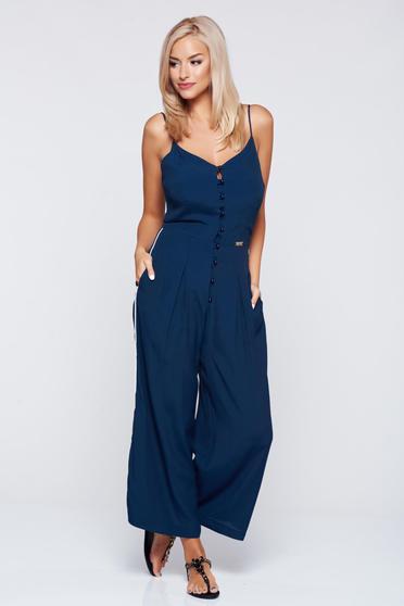 PrettyGirl darkblue casual sleeveless jumpsuit