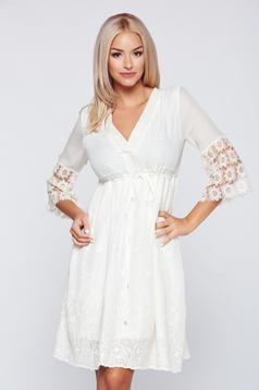 PrettyGirl nude casual cotton embroidered dress