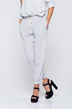 PrettyGirl grey casual trousers with pockets airy fabric