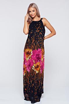 StarShinerS black voile fabric sleeveless dress inside lining