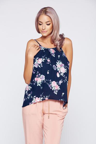 StarShinerS darkblue casual flared top shirt with straps