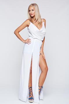 StarShinerS white cut back beach wear dress with elastic waist