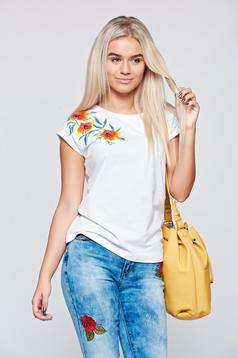 Top Secret white casual cotton embroidered t-shirt