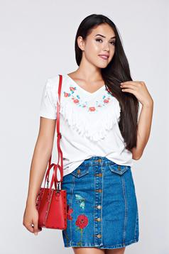 Top Secret casual cotton white t-shirt with fringes
