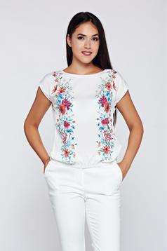 Top Secret casual flared white t-shirt with floral prints