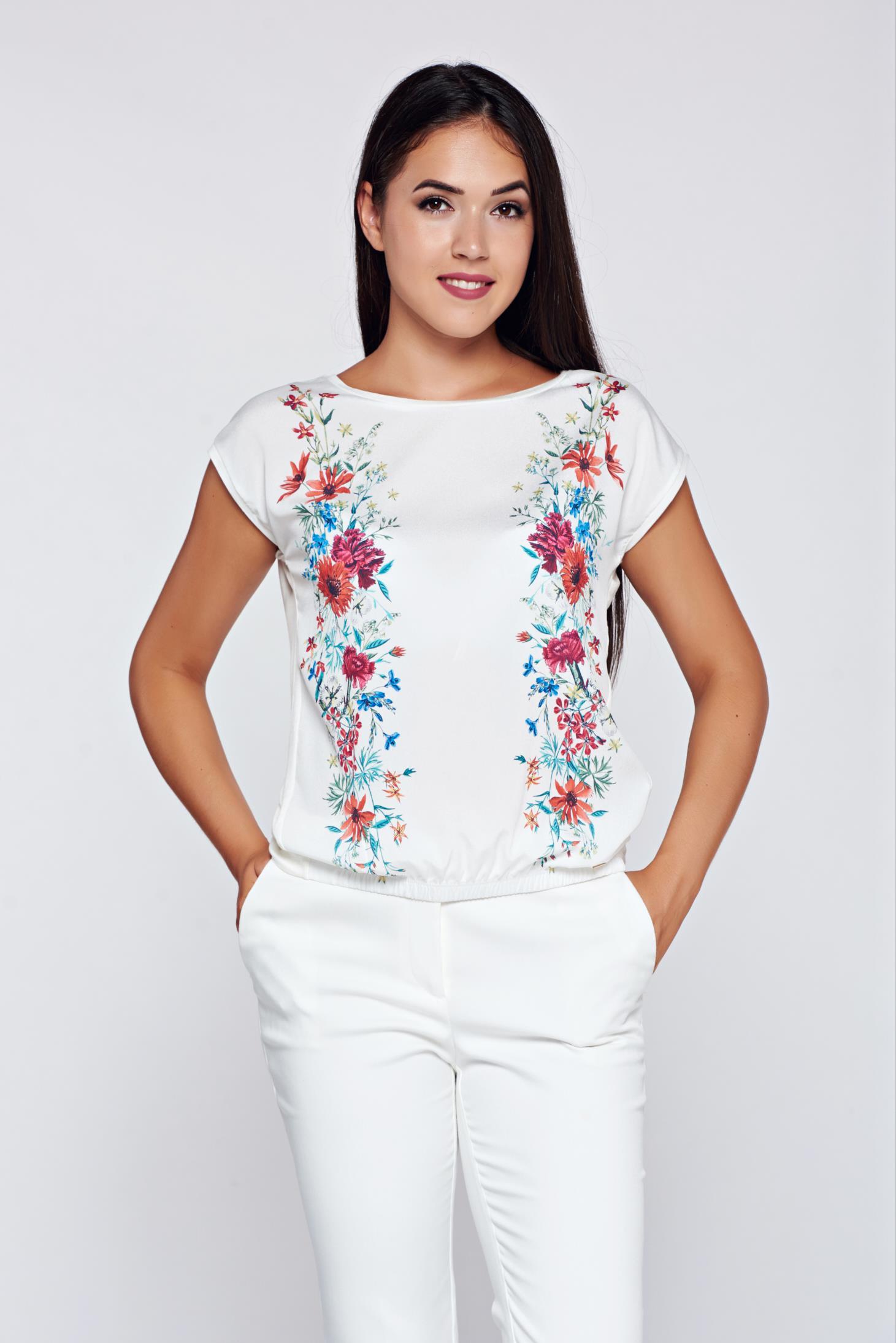 Tricou Top Secret alb casual cu croi larg cu imprimeuri florale
