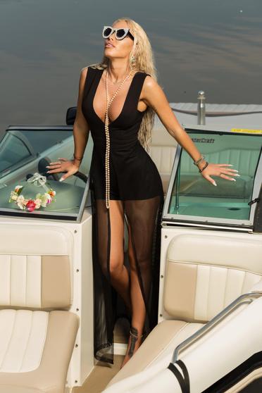 Ocassion black jumpsuit beach wear short sleeveless