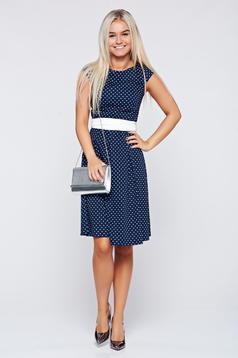 LaDonna darkblue cotton cloche dress accessorized with tied waistband