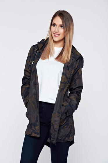 Top Secret darkgreen casual jacket with asymmetrical cut and print details