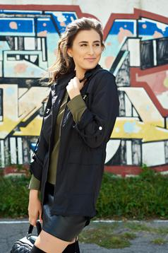 Top Secret black casual long jacket with pockets