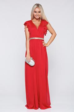 Artista occasional red dress with ruffled sleeves