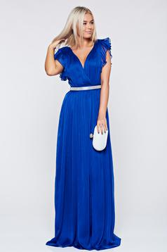 Artista occasional blue dress with ruffled sleeves