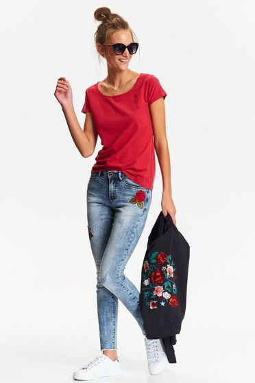 Top Secret blue casual embroidered jeans with medium waist
