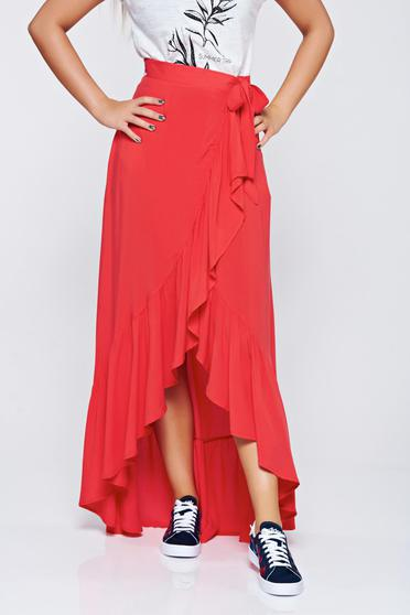 Top Secret casual wrap around red skirt with ruffle details